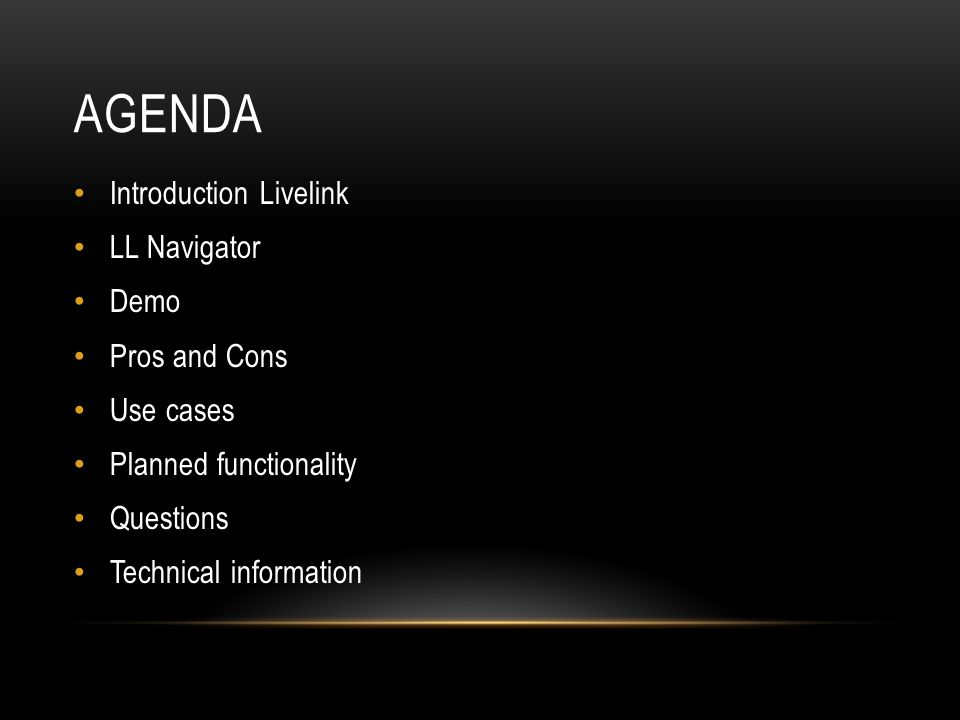 Agenda Introduction Livelink LL Navigator Demo Pros and Cons Use cases