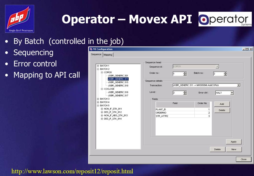 Operator – Movex API By Batch (controlled in the job) Sequencing