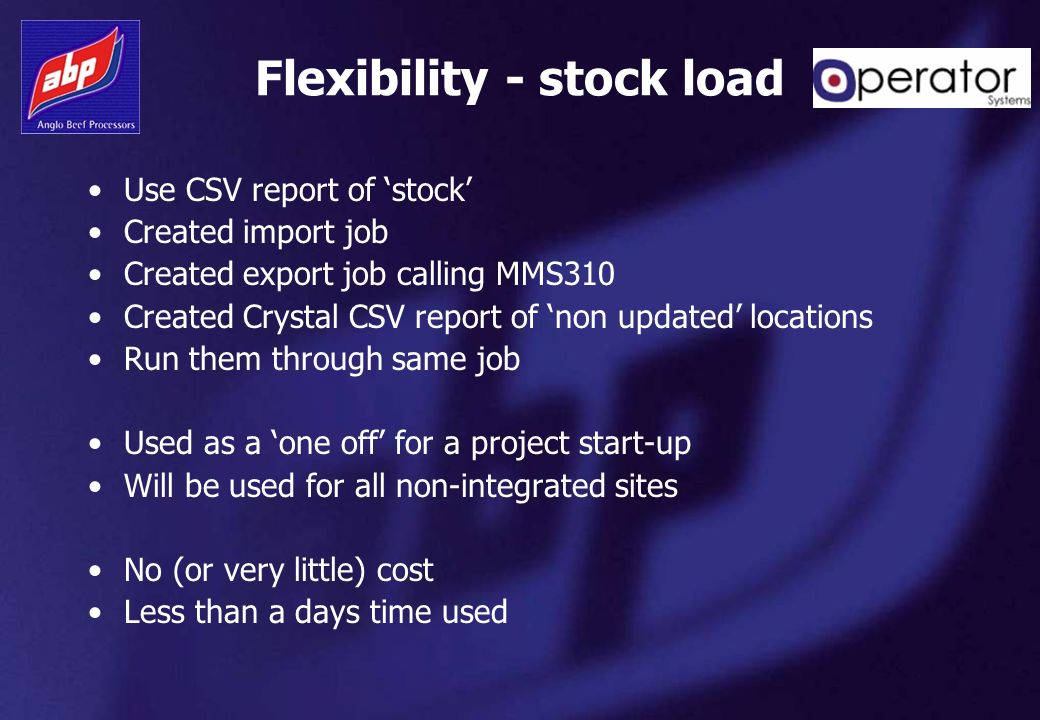 Flexibility - stock load