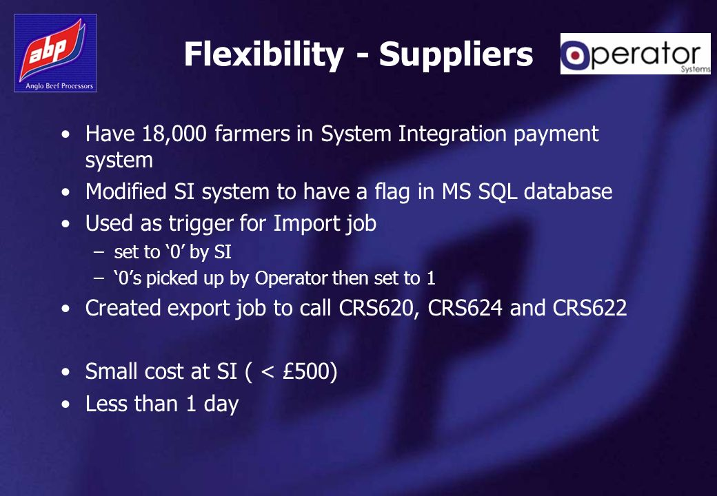 Flexibility - Suppliers