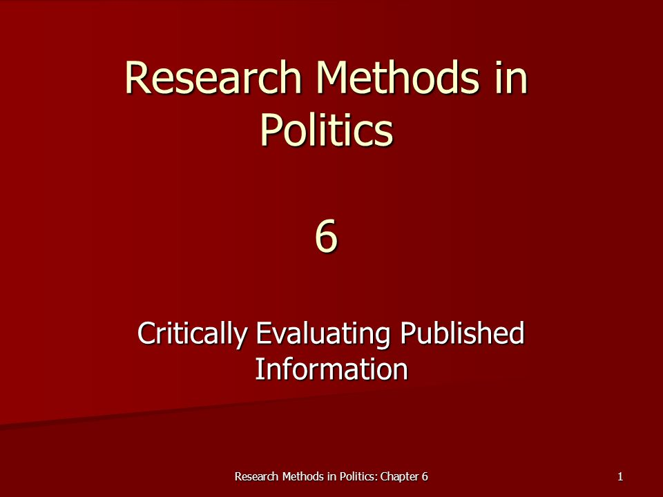 Research Methods in Politics 6