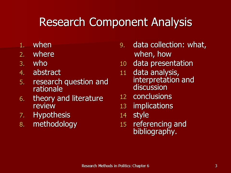 Research Component Analysis