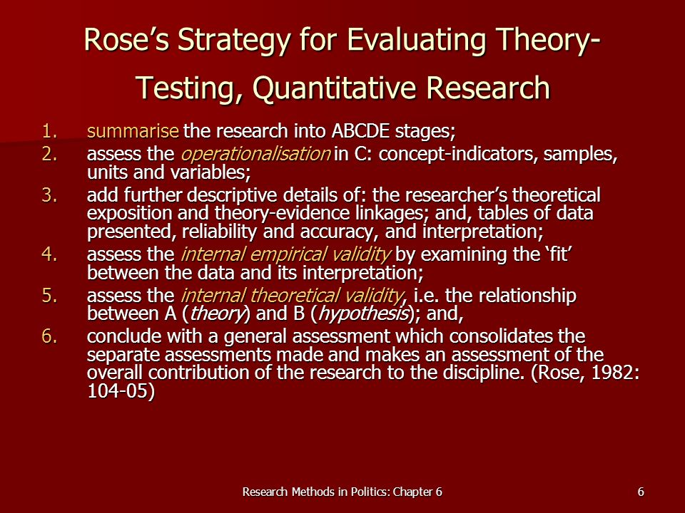 Rose's Strategy for Evaluating Theory-Testing, Quantitative Research