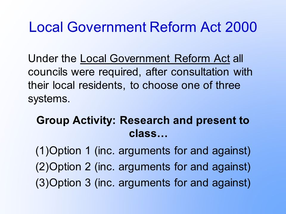 Local Government Reform Act 2000