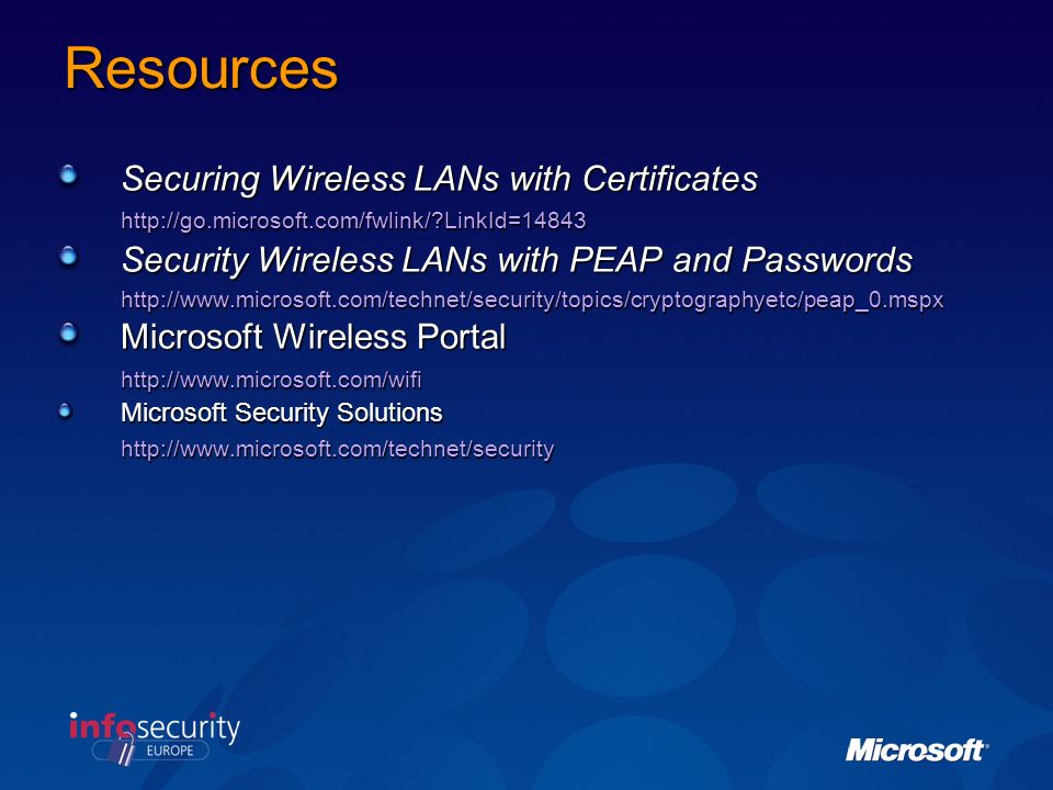 Resources Securing Wireless LANs with Certificates