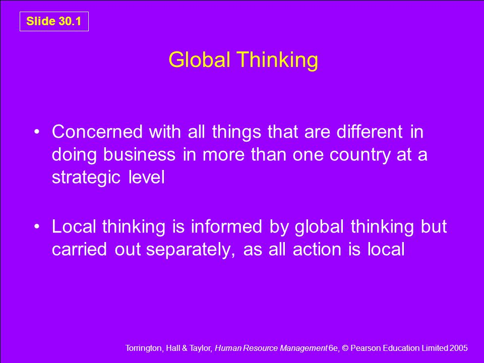 Slide 30.1 Global Thinking. Concerned with all things that are different in doing business in more than one country at a strategic level.