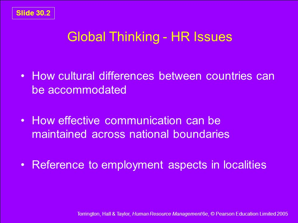 Global Thinking - HR Issues