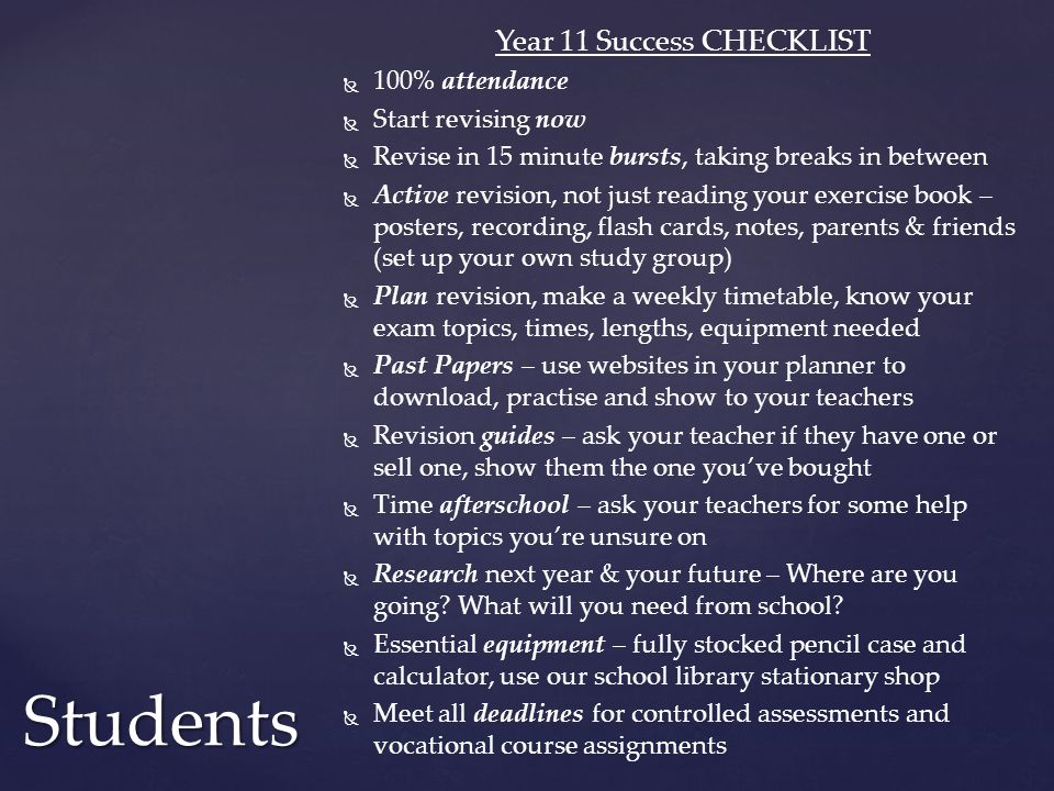 Year 11 Success CHECKLIST
