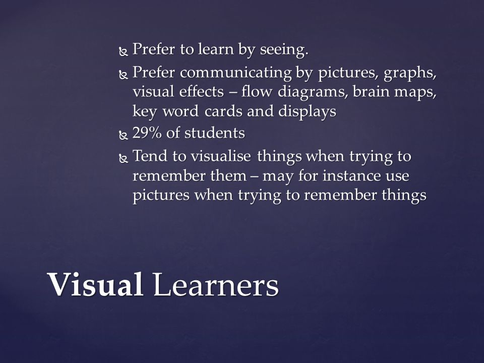 Visual Learners Prefer to learn by seeing.