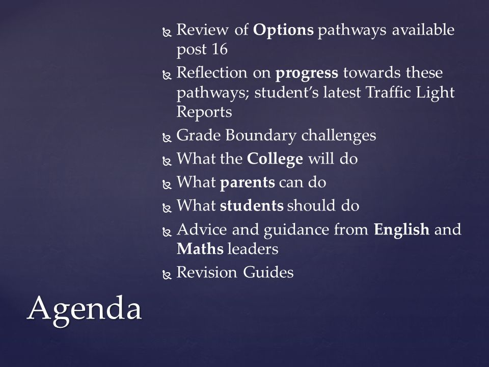 Agenda Review of Options pathways available post 16