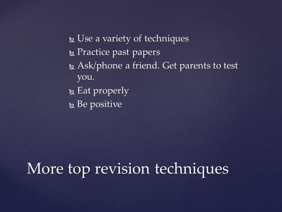 More top revision techniques