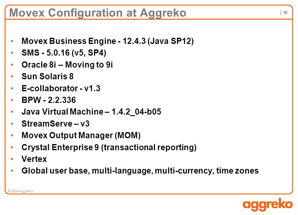 Movex Configuration at Aggreko