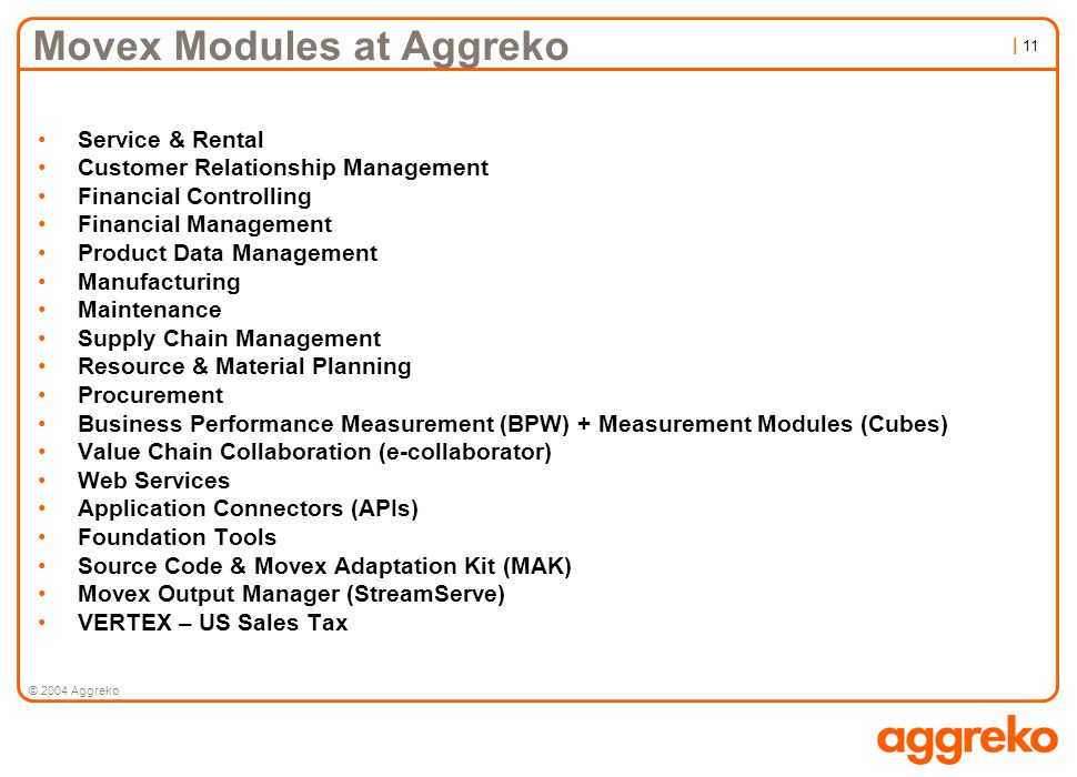Movex Modules at Aggreko