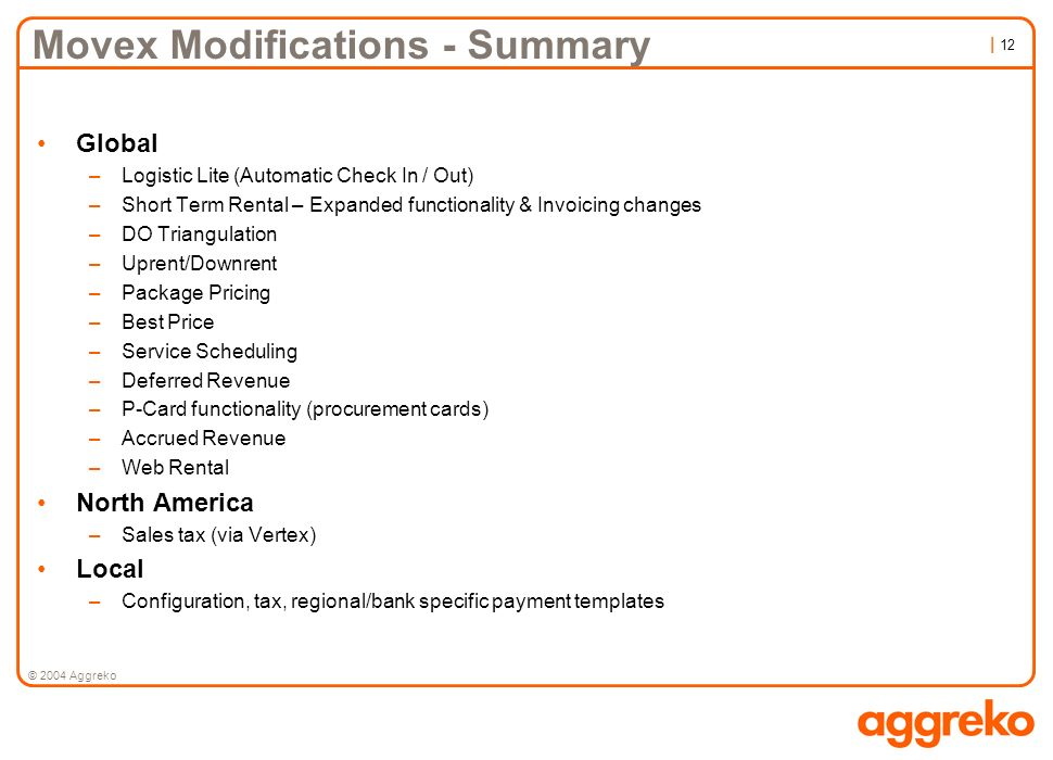 Movex Modifications - Summary