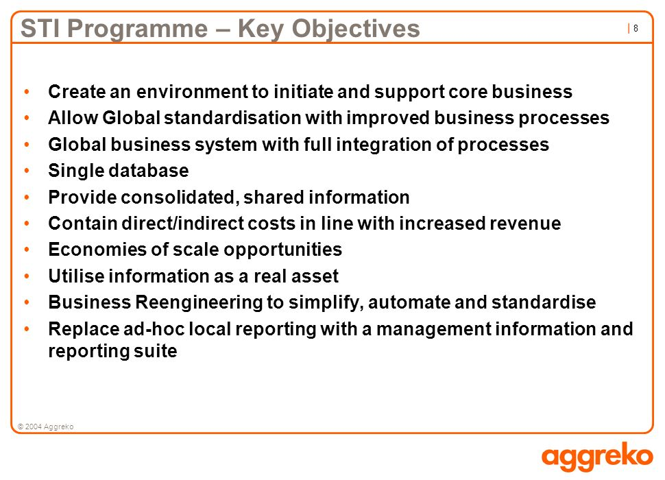 STI Programme – Key Objectives