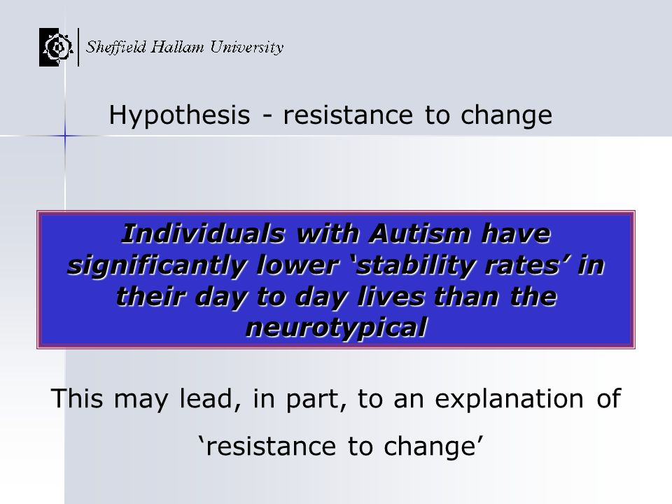 Hypothesis - resistance to change