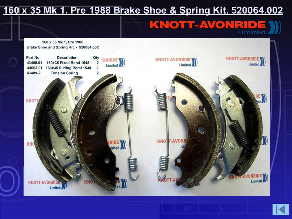 160 x 35 Mk 1, Pre 1988 Brake Shoe & Spring Kit,