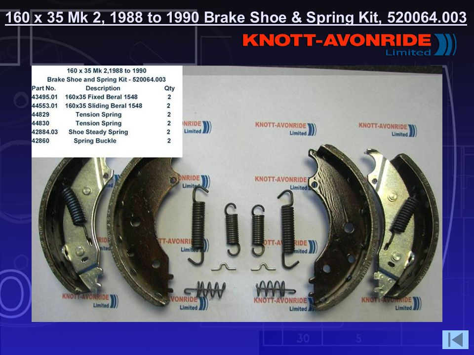 160 x 35 Mk 2, 1988 to 1990 Brake Shoe & Spring Kit,