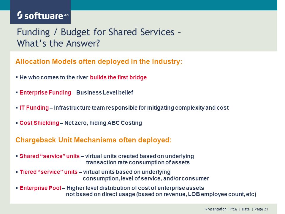 Funding / Budget for Shared Services – What's the Answer