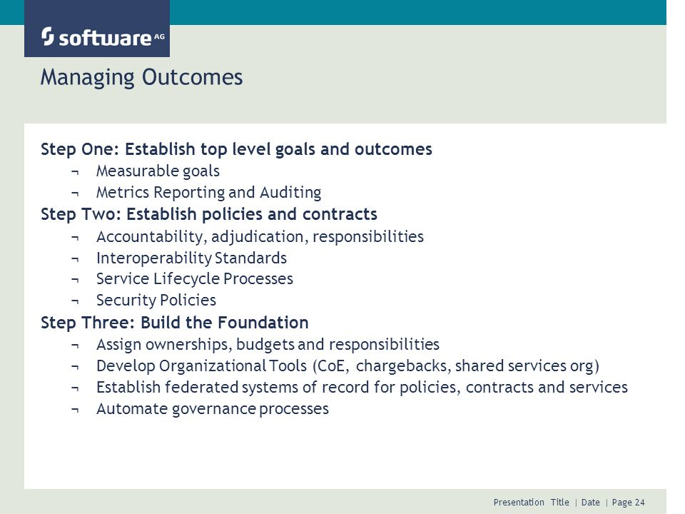 Managing Outcomes Step One: Establish top level goals and outcomes
