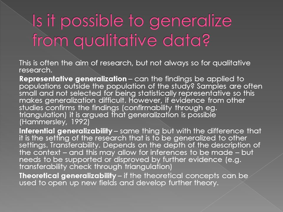 Is it possible to generalize from qualitative data