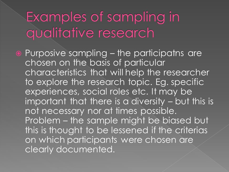 Examples of sampling in qualitative research