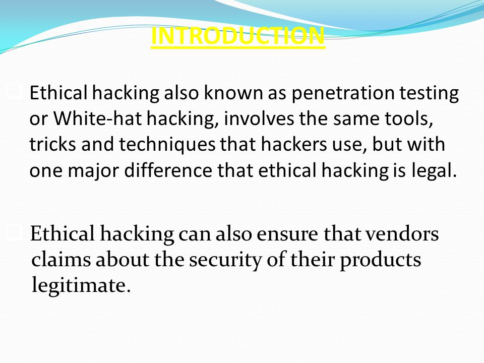 Presentation on ethical hacking ppt.