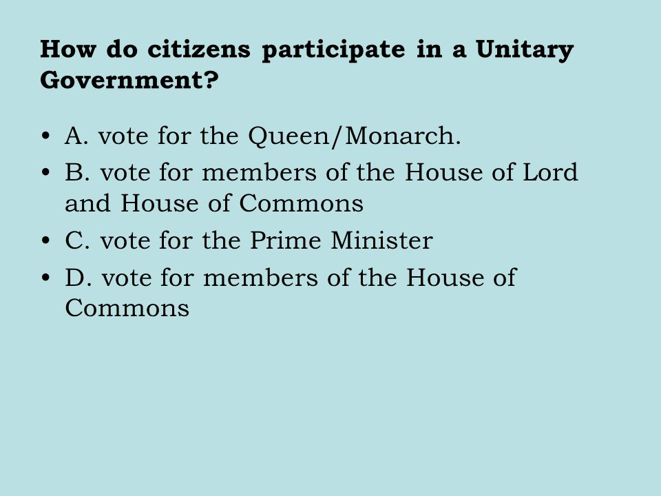 How do citizens participate in a Unitary Government