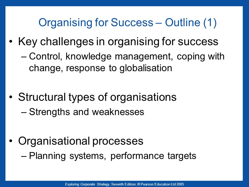 Organising for Success – Outline (1)