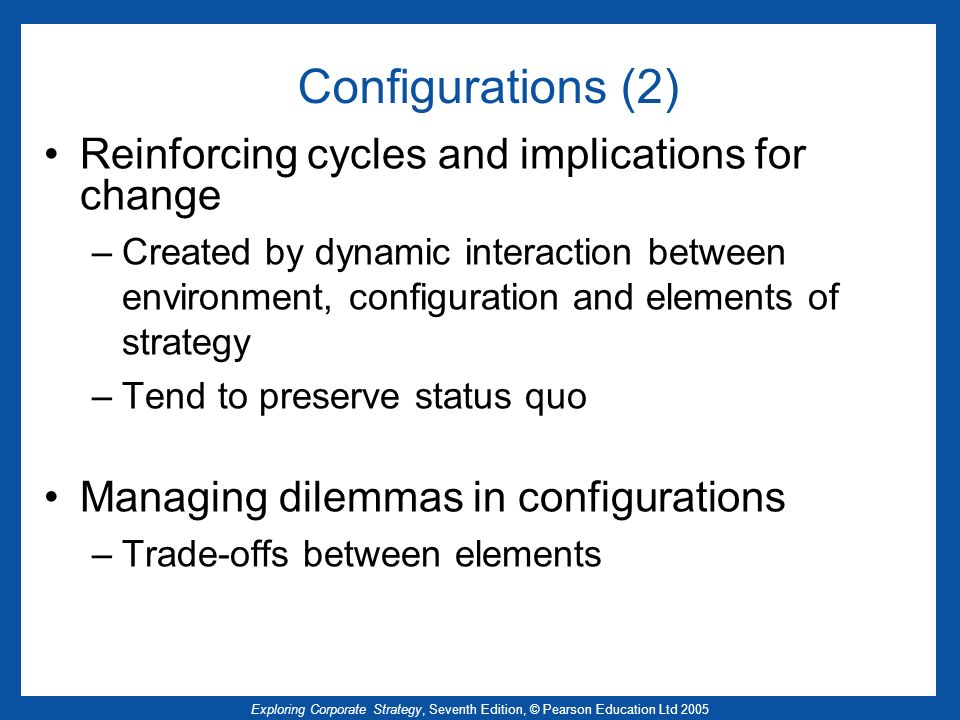 Configurations (2) Reinforcing cycles and implications for change