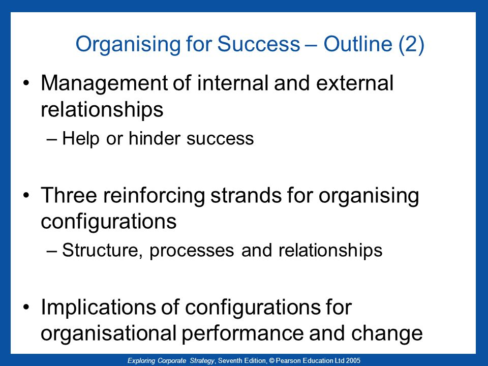 Organising for Success – Outline (2)