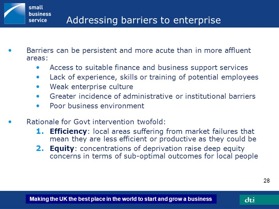 Addressing barriers to enterprise