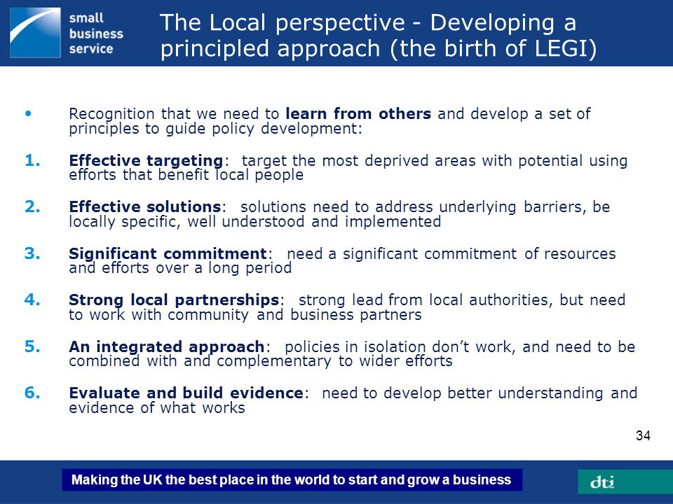 The Local perspective - Developing a principled approach (the birth of LEGI)