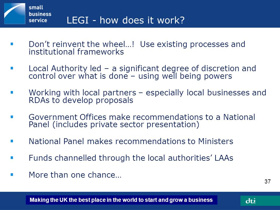 LEGI - how does it work Don't reinvent the wheel…! Use existing processes and institutional frameworks.