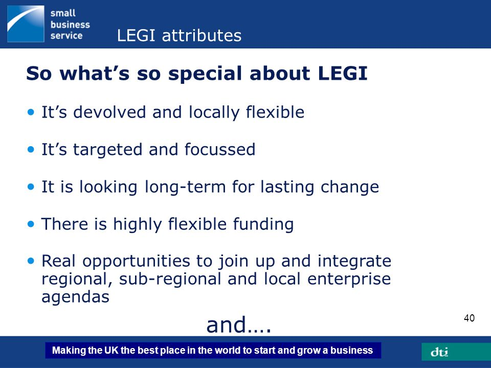 and…. So what's so special about LEGI LEGI attributes