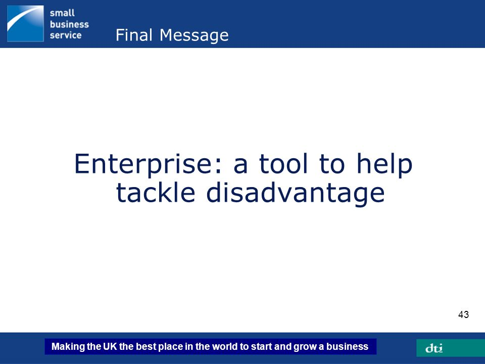 Enterprise: a tool to help tackle disadvantage