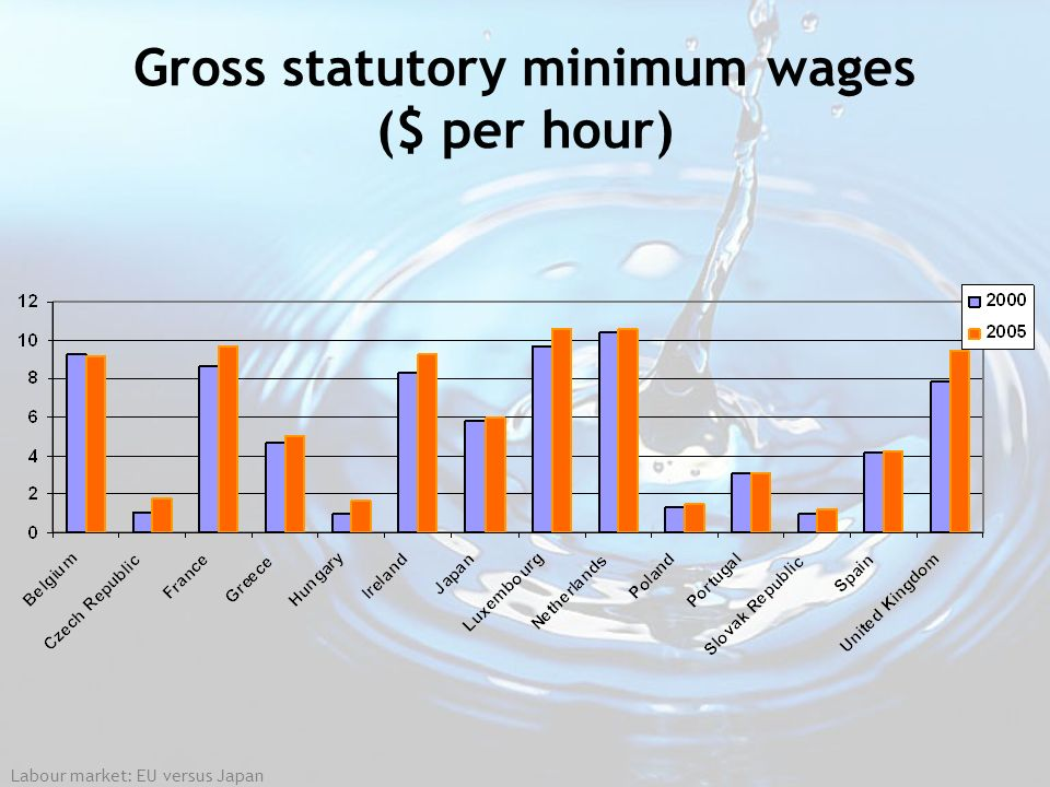Gross statutory minimum wages ($ per hour)