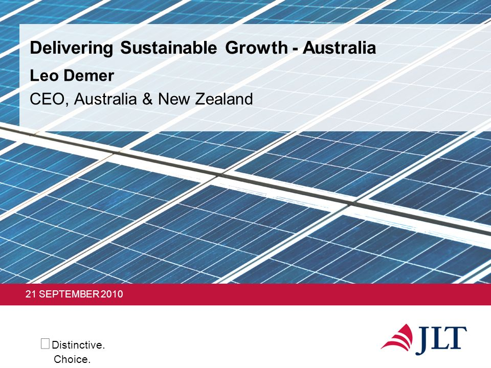Delivering Sustainable Growth - Australia