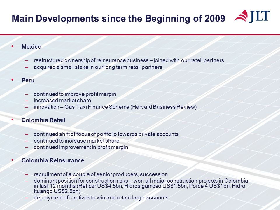 Main Developments since the Beginning of 2009