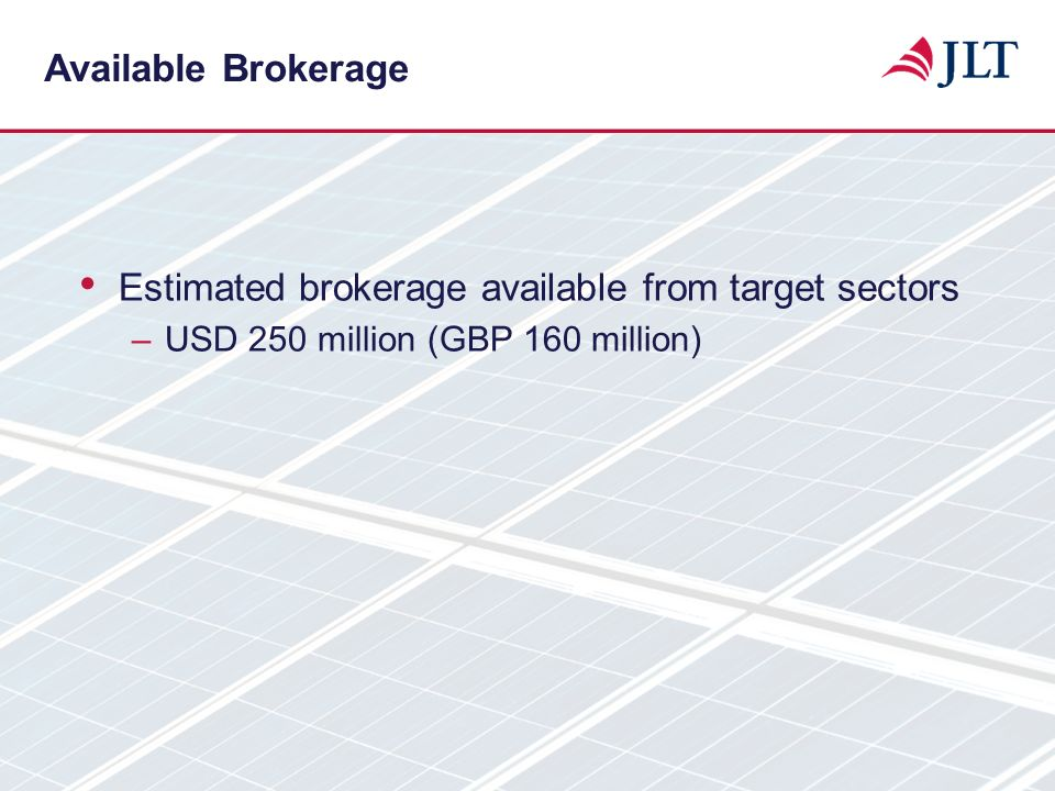 Estimated brokerage available from target sectors