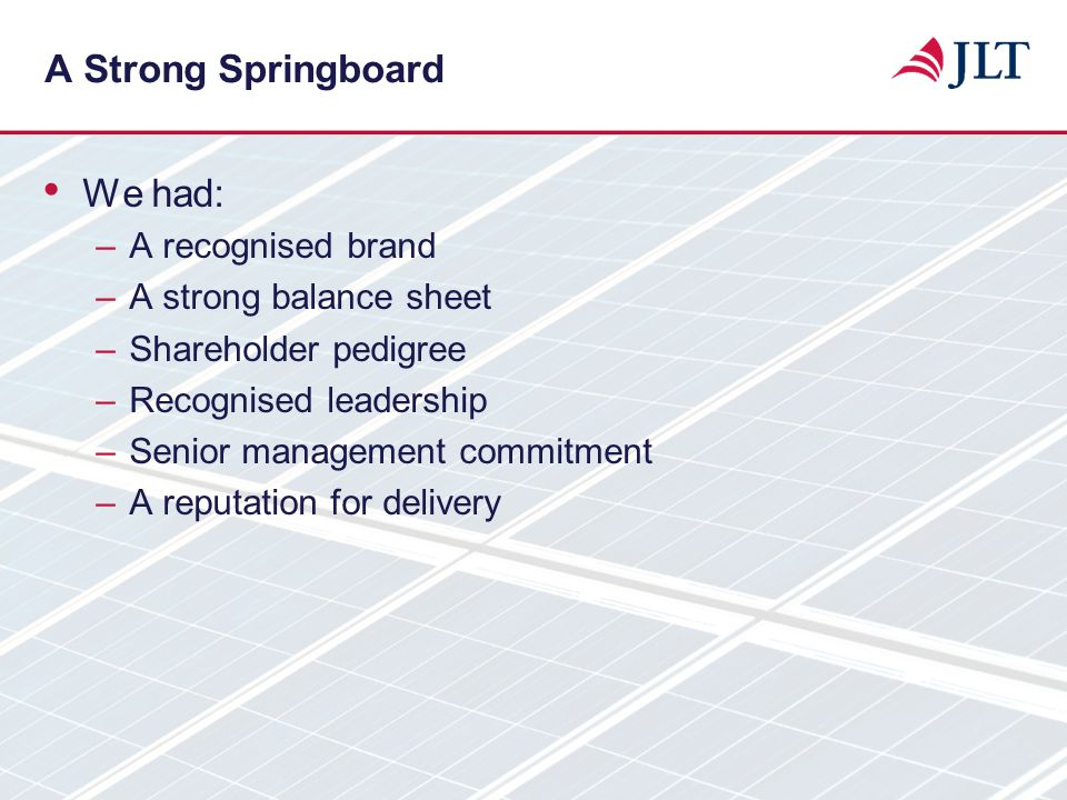 A Strong Springboard We had: A recognised brand A strong balance sheet