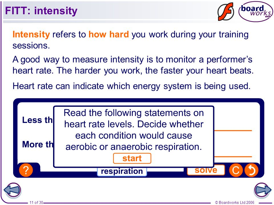 FITT: intensity Intensity refers to how hard you work during your training sessions.
