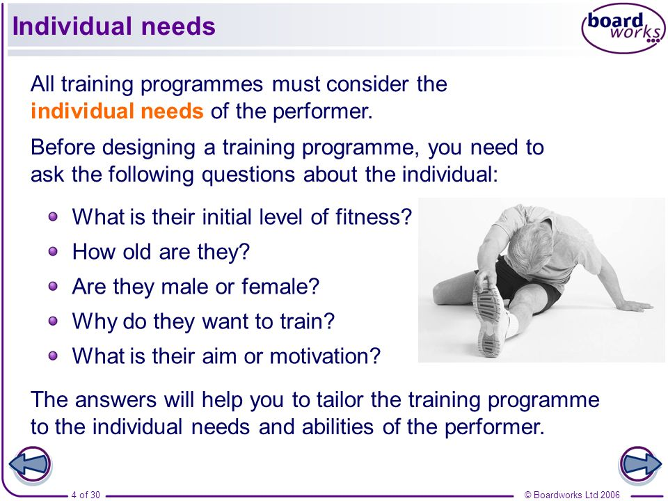 Individual needs All training programmes must consider the individual needs of the performer.