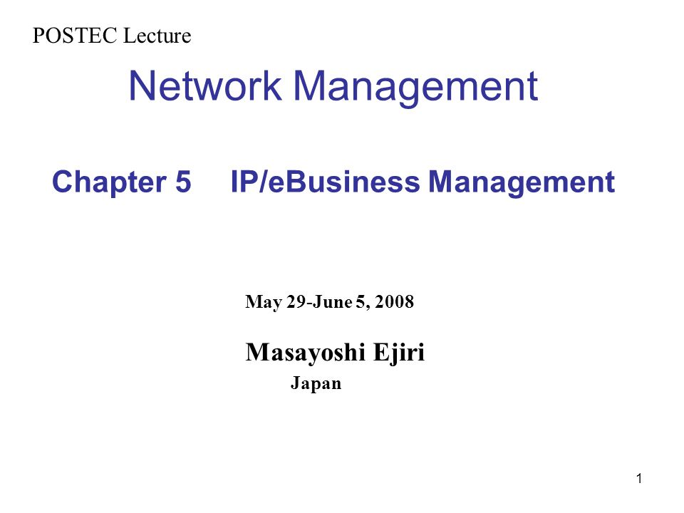Network Management Chapter 5 IP/eBusiness Management