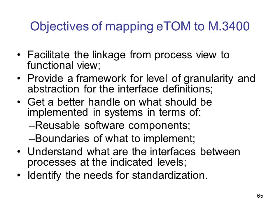 Objectives of mapping eTOM to M.3400