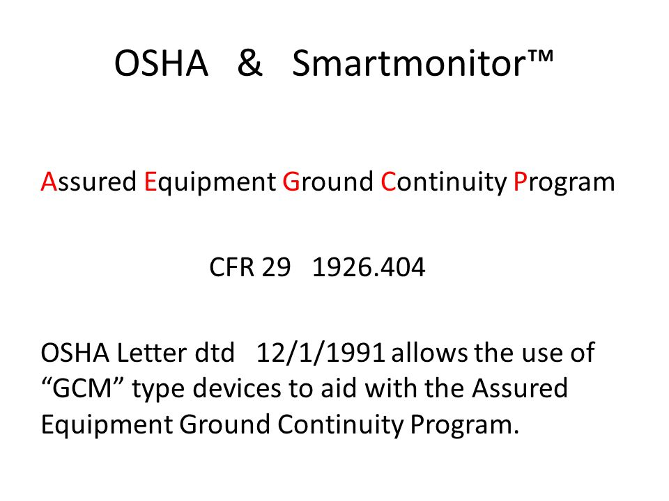 OSHA & Smartmonitor™ Assured Equipment Ground Continuity Program