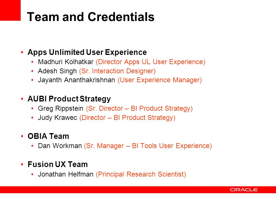 Team and Credentials Apps Unlimited User Experience