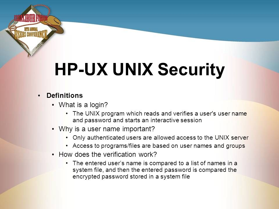 HP-UX UNIX Security Definitions What is a login