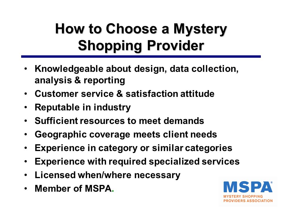 How to Choose a Mystery Shopping Provider