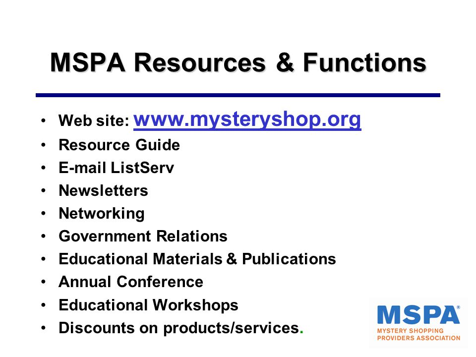 MSPA Resources & Functions